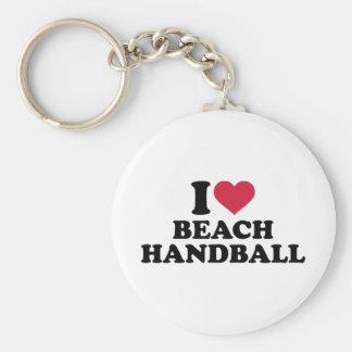 I love Beachhandball Basic Round Button Keychain