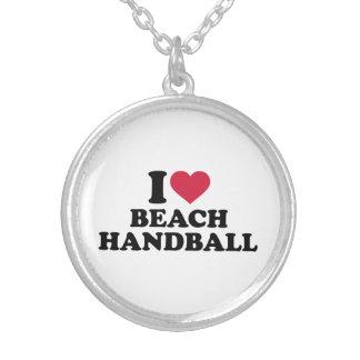 I love Beachhandball Round Pendant Necklace