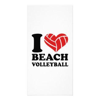 I love Beachvolleyball Custom Photo Card