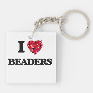 I love Beaders Double-Sided Square Acrylic Keychain