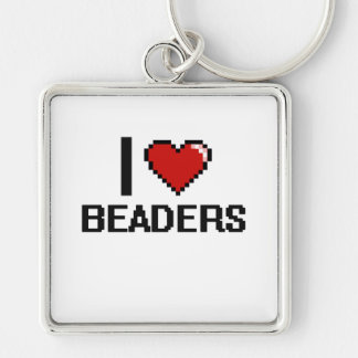 I love Beaders Silver-Colored Square Keychain