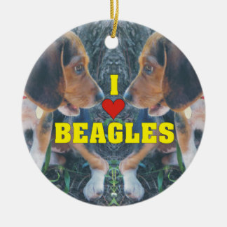 I Love Beagles Beagle Puppies Ceramic Ornament