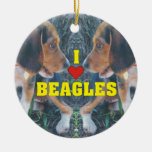 I Love Beagles Beagle Puppies Double-Sided Ceramic Round Christmas Ornament