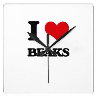 I Love Beaks Square Wall Clock