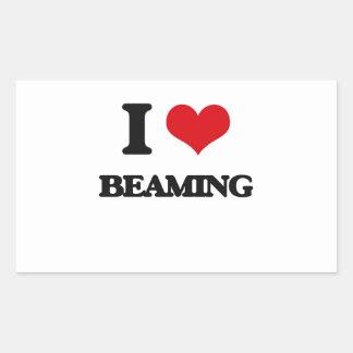 I Love Beaming Rectangle Sticker