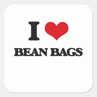 I Love Bean Bags Square Sticker