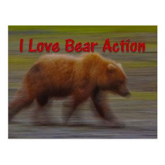 I Love Bear Action Postcard