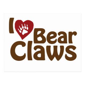 i love bear claws postcard