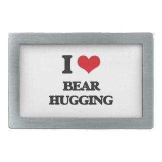 I love Bear Hugging Rectangular Belt Buckles