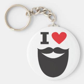 I Love Beard - red Keychain