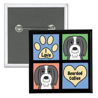 I Love Bearded Collies Pinback Button