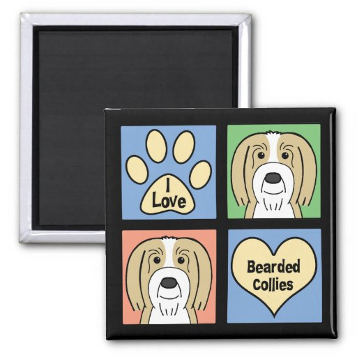 I Love Bearded Collies Refrigerator Magnets