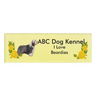 I Love Beardies and Yellow Roses Name Tag