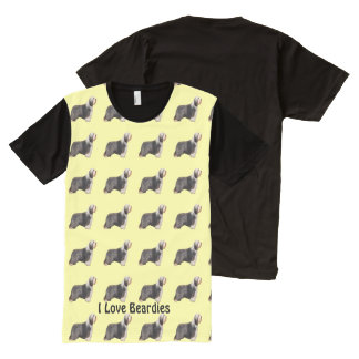 I Love Beardies with Yellow All-Over-Print T-Shirt
