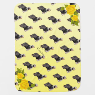 I Love Beardies with Yellow Roses Swaddle Blanket
