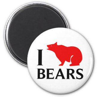 I Love Bears 2 Inch Round Magnet