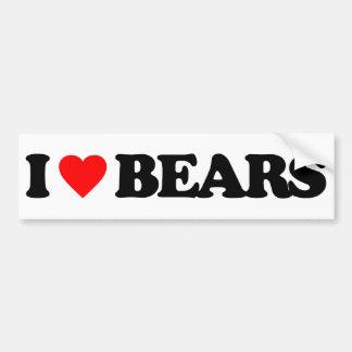 I LOVE BEARS CAR BUMPER STICKER