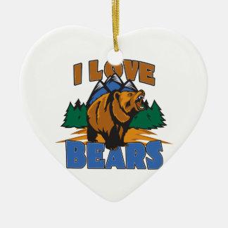 I Love Bears Ceramic Ornament