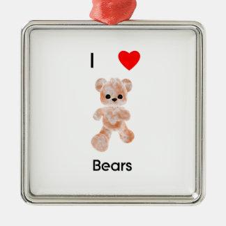 I love bears metal ornament
