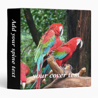 I love beatiful birds!  red and blue parrots binder