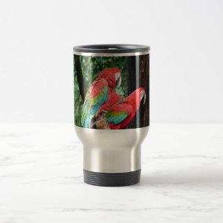 I love beatiful birds!  red and blue parrots travel mug