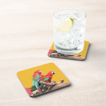 I love beautiful birds! red and blue parrots. coasters