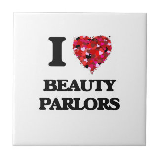 I Love Beauty Parlors Small Square Tile