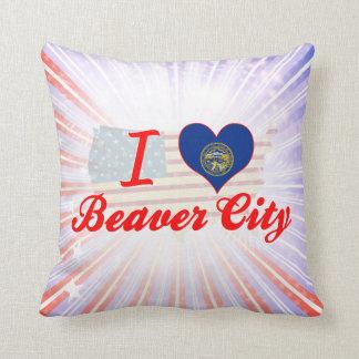 I Love Beaver City, Nebraska Throw Pillows