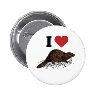 I Love Beaver Pinback Button