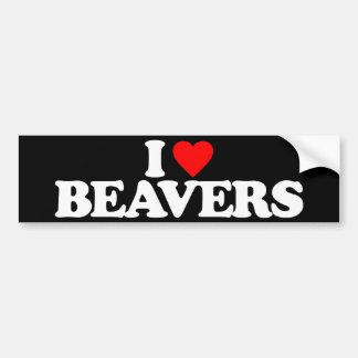 I LOVE BEAVERS CAR BUMPER STICKER