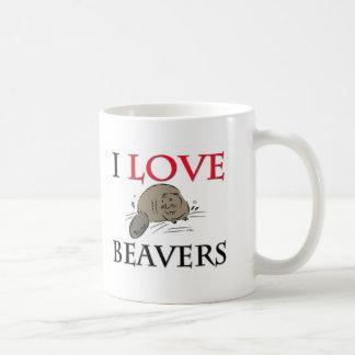 I Love Beavers Classic White Coffee Mug