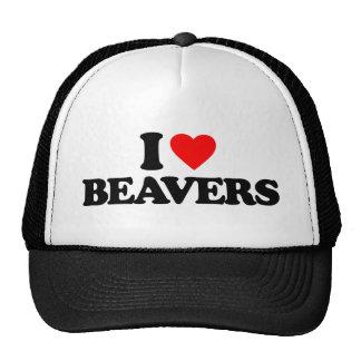 I LOVE BEAVERS HATS