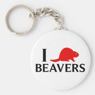 I Love Beavers Keychain