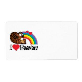 I Love Beavers Label