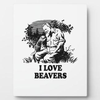 I Love Beavers Photo Plaques