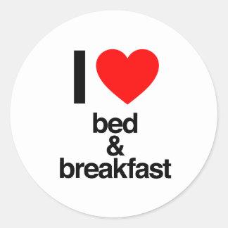 i love bed and breakfast round sticker