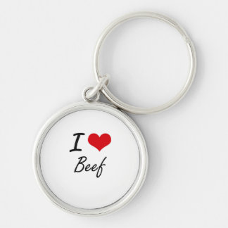 I Love Beef Artistic Design Silver-Colored Round Keychain