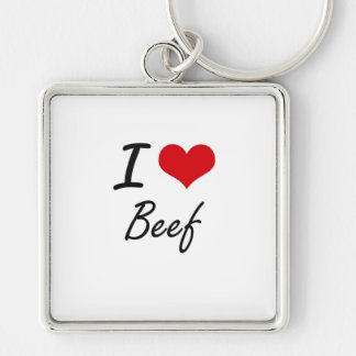 I Love Beef Artistic Design Silver-Colored Square Keychain