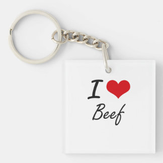 I Love Beef Artistic Design Single-Sided Square Acrylic Keychain