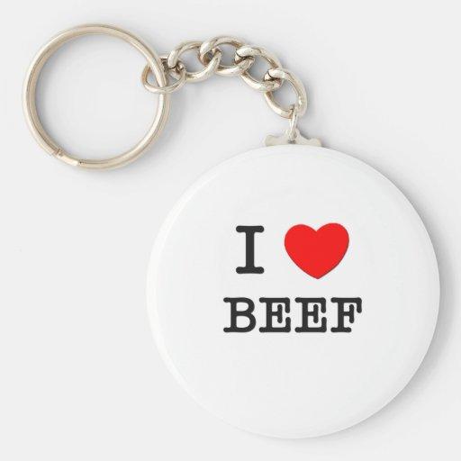 I Love Beef Basic Round Button Keychain