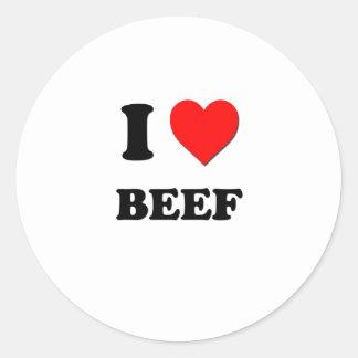 I Love Beef Classic Round Sticker