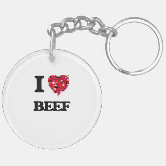 I Love Beef Double-Sided Round Acrylic Keychain