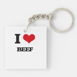 I Love Beef Double-Sided Square Acrylic Keychain