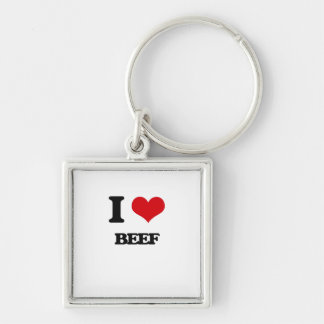 I Love Beef Silver-Colored Square Keychain