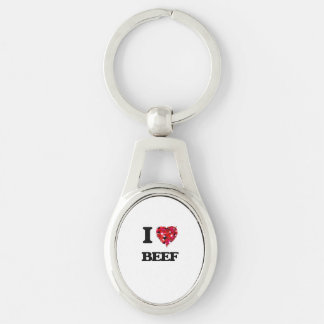 I Love Beef Silver-Colored Oval Metal Keychain