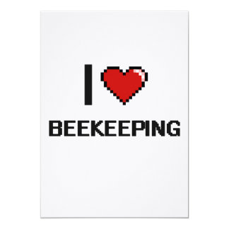 "I Love Beekeeping Digital Retro Design 5"" X 7"" Invitation Card"