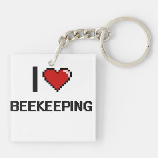 I Love Beekeeping Digital Retro Design Double-Sided Square Acrylic Keychain
