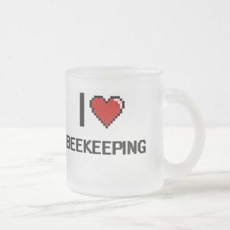 I Love Beekeeping Digital Retro Design 10 Oz Frosted Glass Coffee Mug