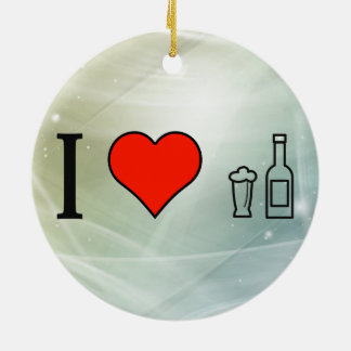 I Love Beer Bottles Double-Sided Ceramic Round Christmas Ornament