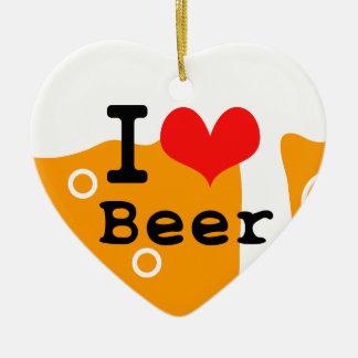 I Love Beer Ceramic Ornament